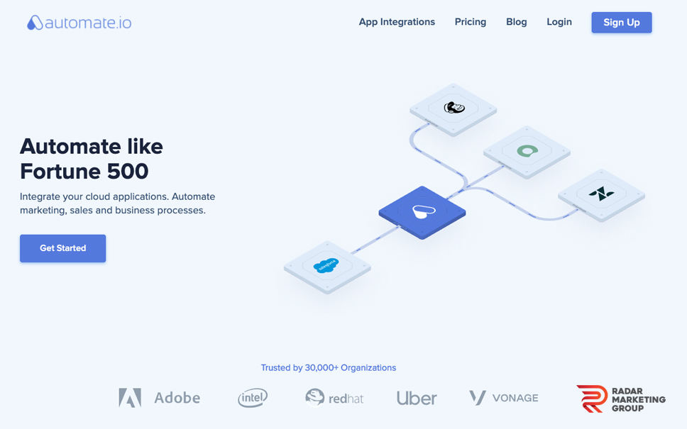 Automate.io Homepage
