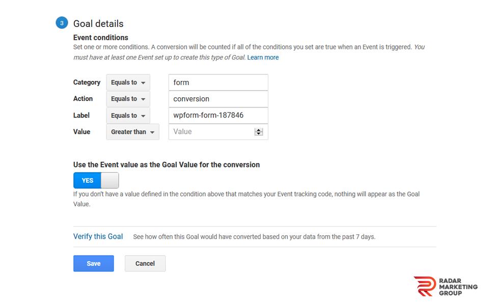 Goals Page in Google Analytics