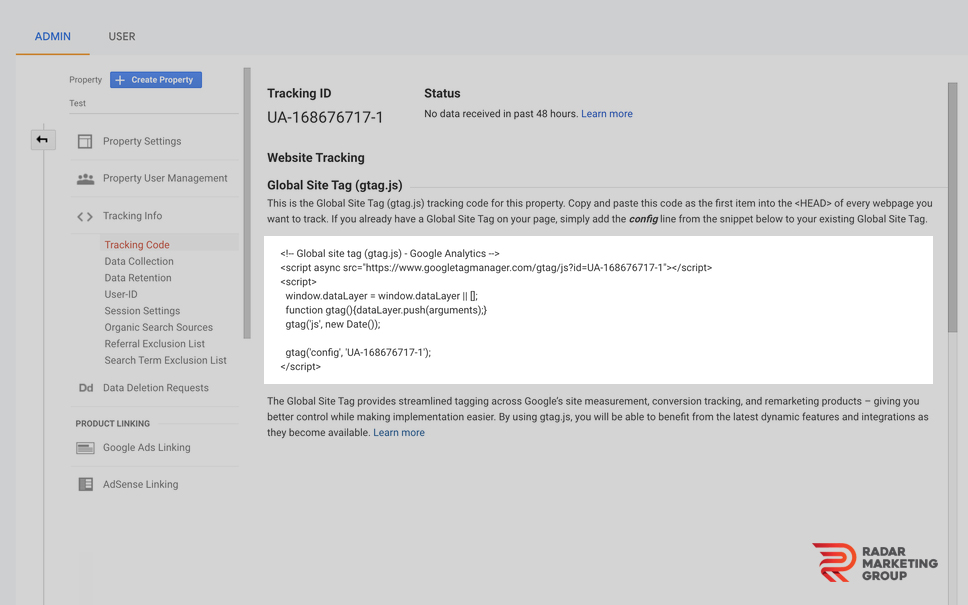 Google Analytics Tracking Code Location