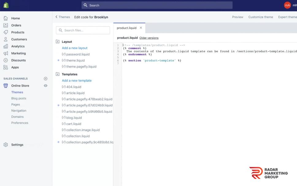 Editing Shopify Code